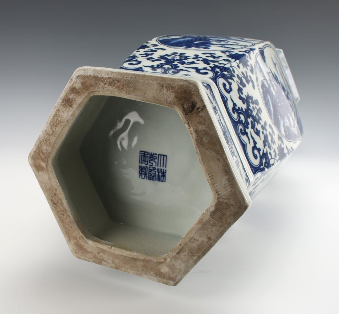 HEXAGONAL BLUE AND WHITE VASE - 10