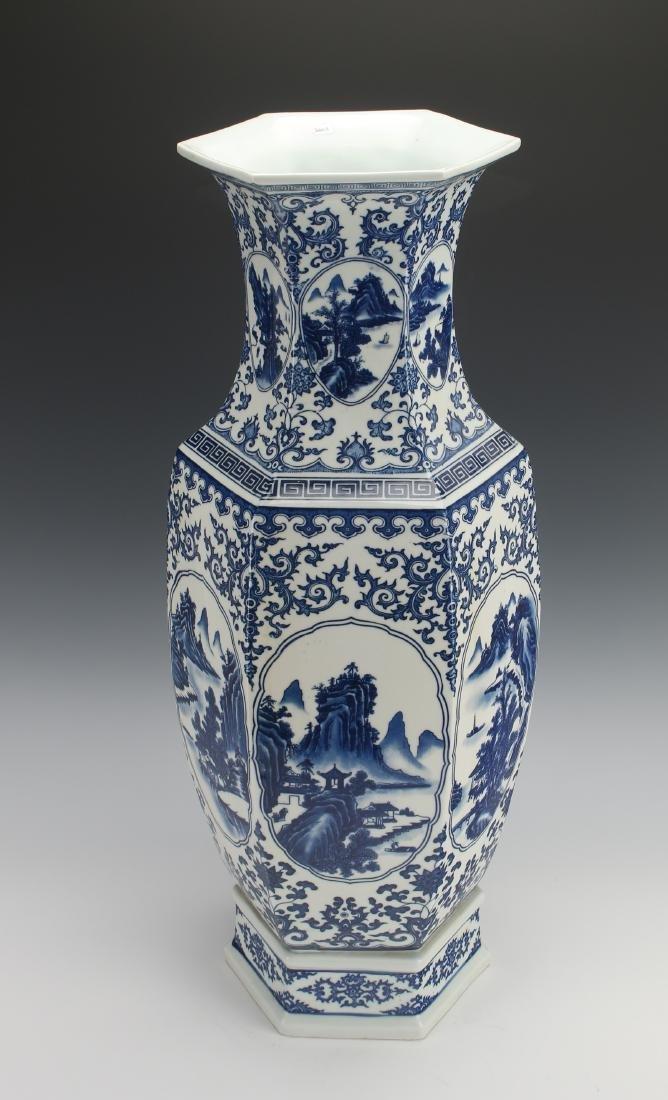 HEXAGONAL BLUE AND WHITE VASE - 2