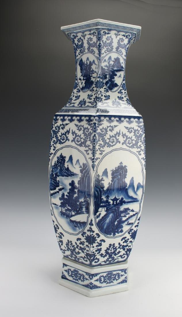HEXAGONAL BLUE AND WHITE VASE - 3