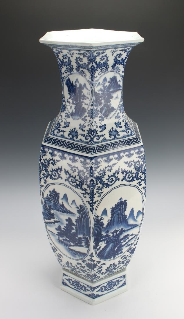 HEXAGONAL BLUE AND WHITE VASE - 4