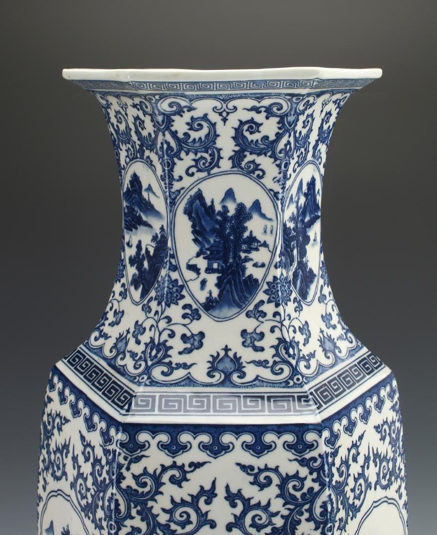 HEXAGONAL BLUE AND WHITE VASE - 5
