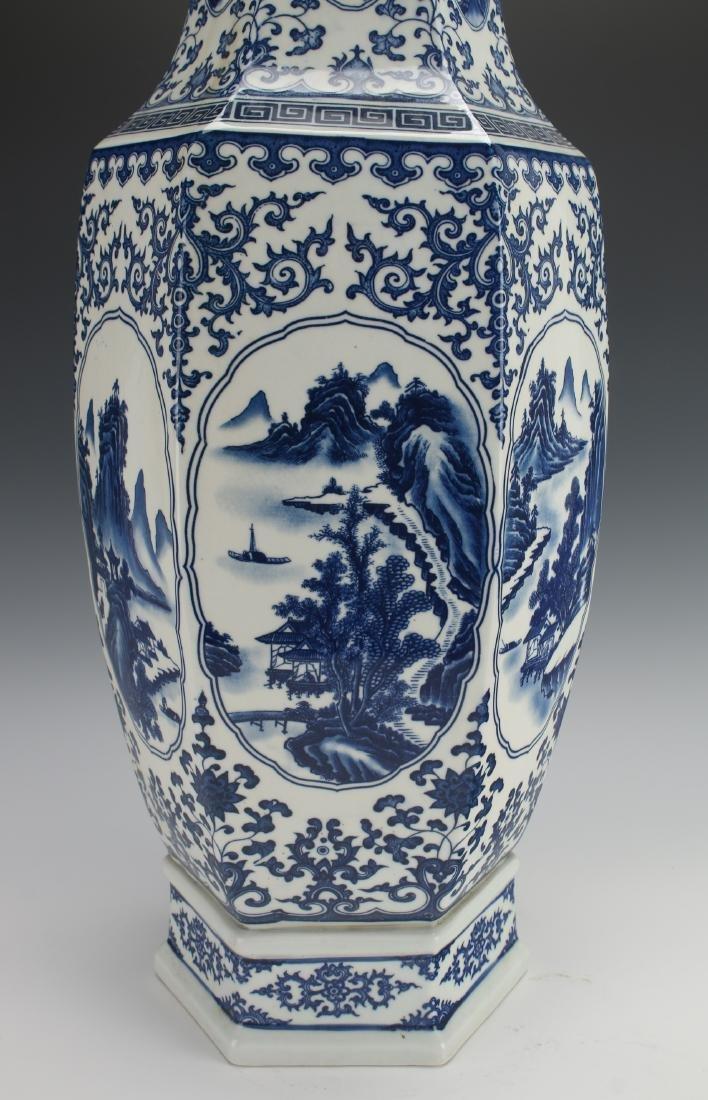 HEXAGONAL BLUE AND WHITE VASE - 6