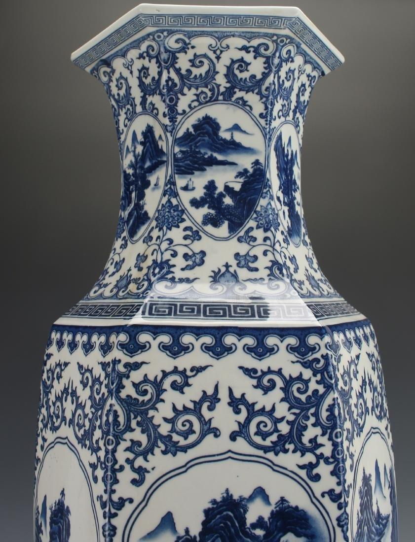 HEXAGONAL BLUE AND WHITE VASE - 7