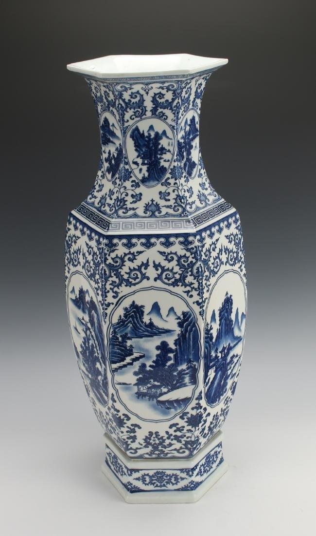 HEXAGONAL BLUE AND WHITE VASE - 8