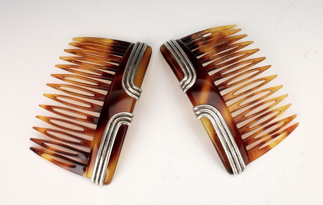 PAIR VINTAGE STERLING & FAUX TORTOISE HAIR COMBS - 2
