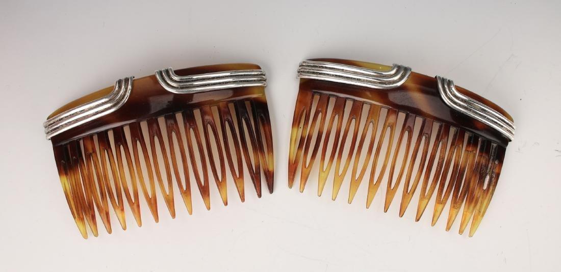 PAIR VINTAGE STERLING & FAUX TORTOISE HAIR COMBS - 3