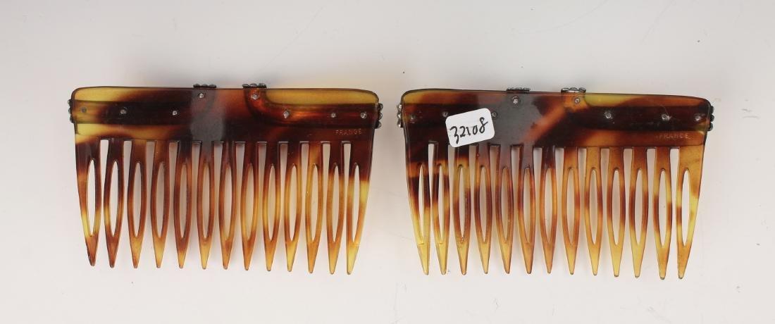 PAIR VINTAGE STERLING & FAUX TORTOISE HAIR COMBS - 4