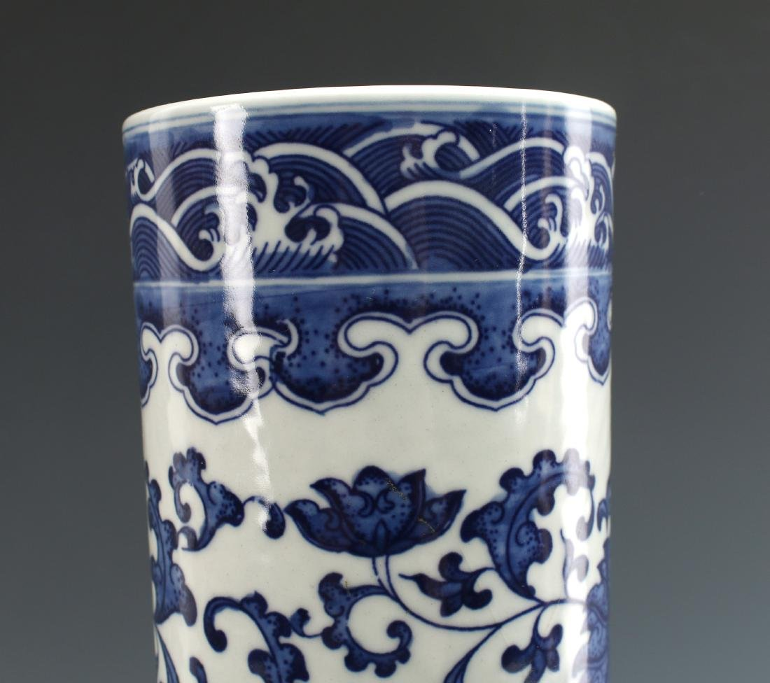 BLUE & WHITE BULBOUS DRAGON VASE - 4