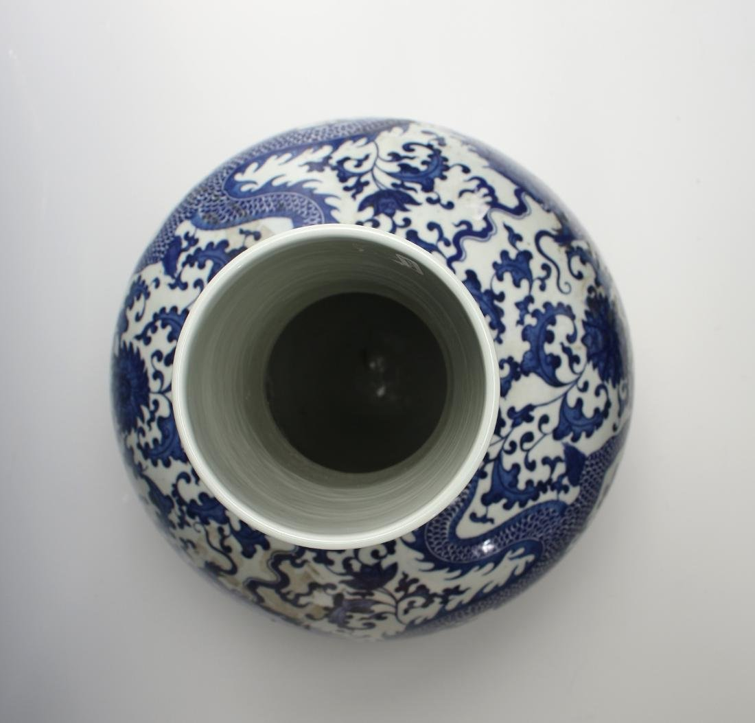BLUE & WHITE BULBOUS DRAGON VASE - 8