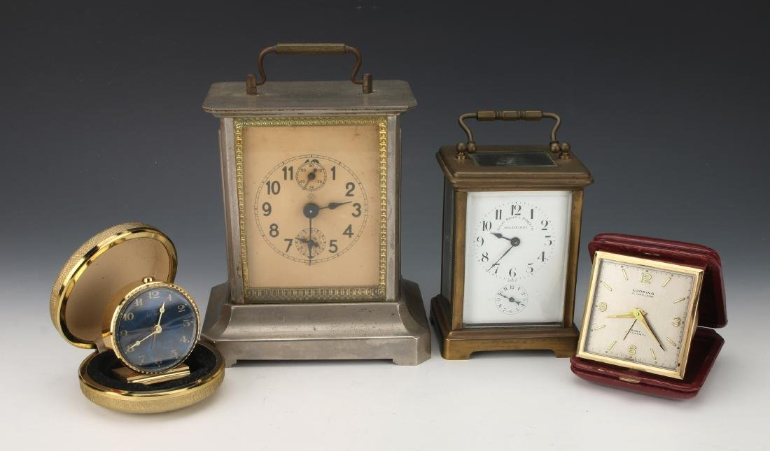 5 ASSORTED CLOCKS: CARRIAGE, TRAVEL, ANNIVERSARY