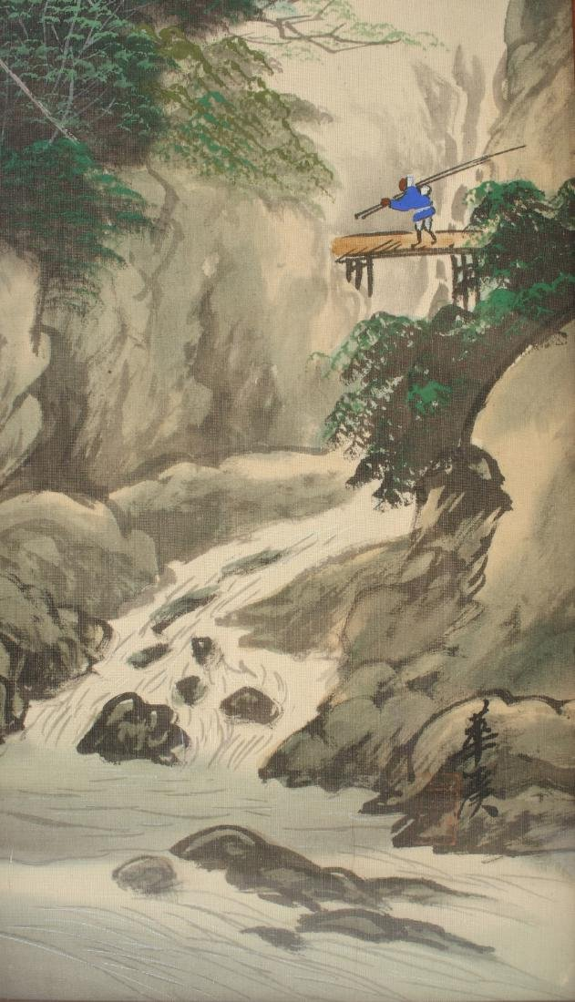 TWO CHINESE WATERCOLOR PAINTINGS ON SILK - 3
