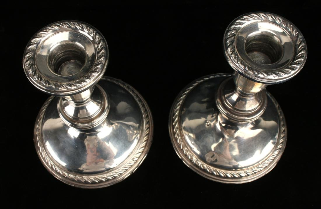 PAIR PREISNER WEIGHTED STERLING CANDLE STICKS - 6