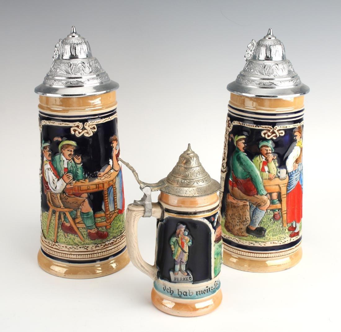 THREE GERMAN BEER STEINS - 3