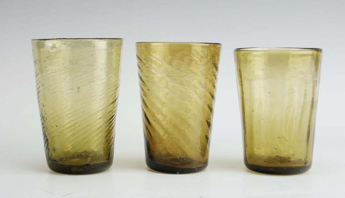 ANTIQUE 3 AMBER SWIRL GLASSES