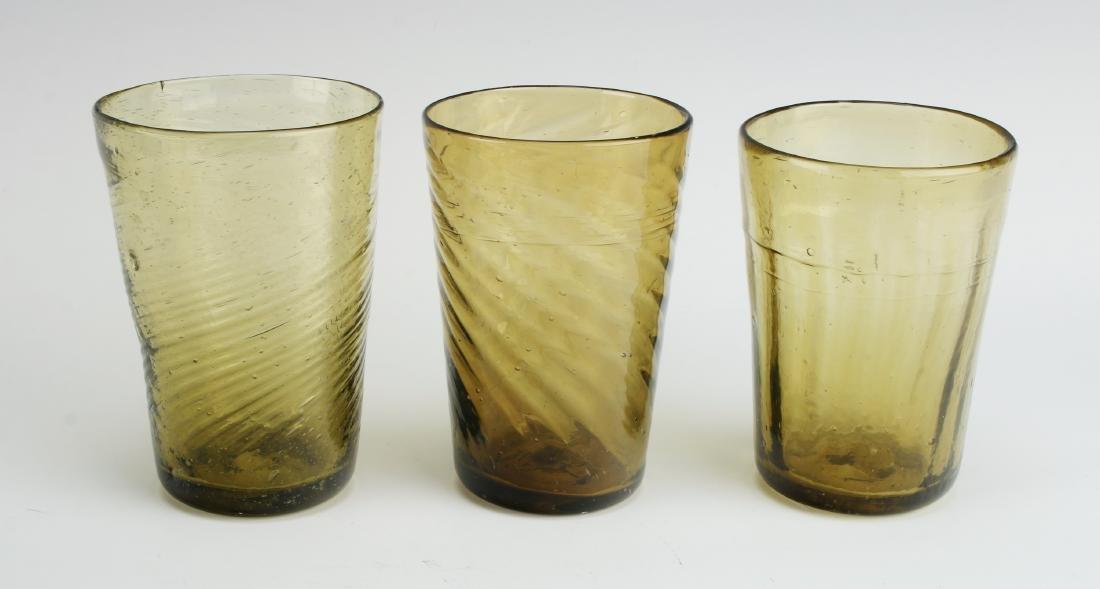 ANTIQUE 3 AMBER SWIRL GLASSES - 2