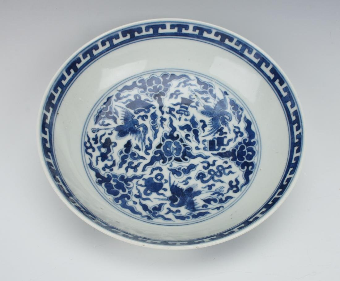 BLUE & WHITE CRANE AND CHARACTER BOWL