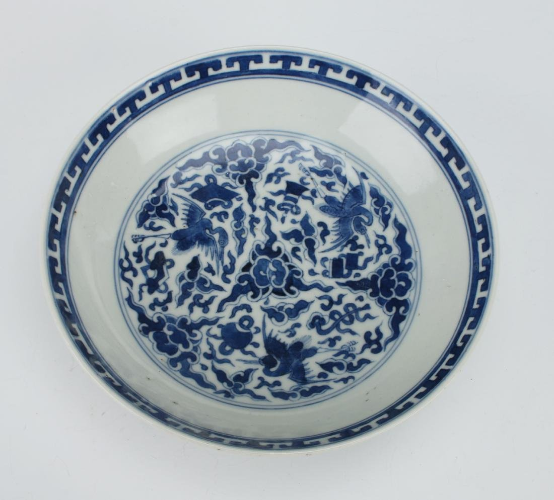 BLUE & WHITE CRANE AND CHARACTER BOWL - 2