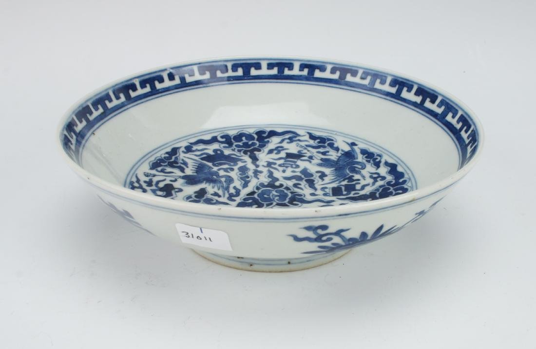 BLUE & WHITE CRANE AND CHARACTER BOWL - 3