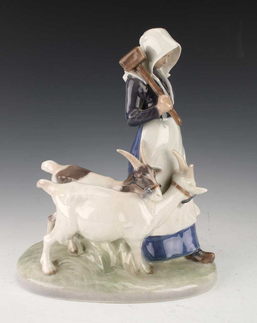 ROYAL COPENHAGEN WOMAN WITH GOATS FIGURINE - 4