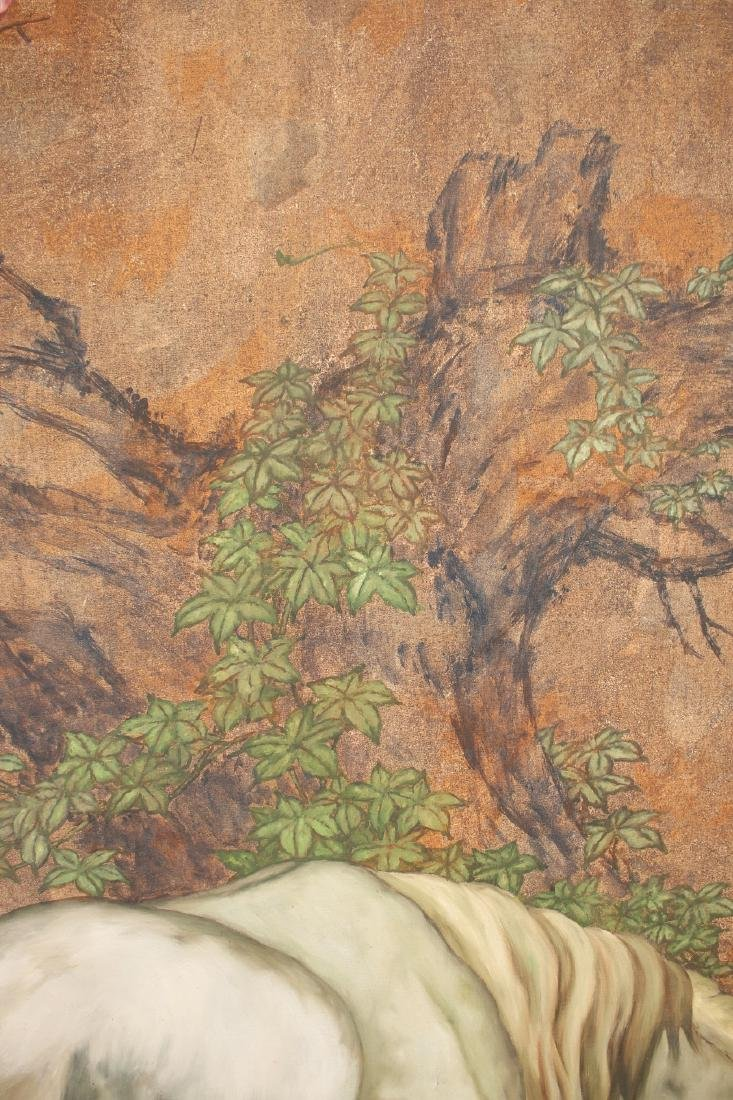 LARGE PAINTING OF HORSE UNDER TREE - 8