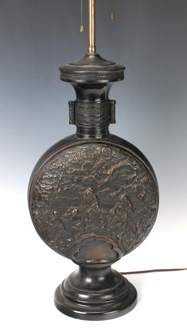 CHINESE BRONZE REPOUSSE LAMP