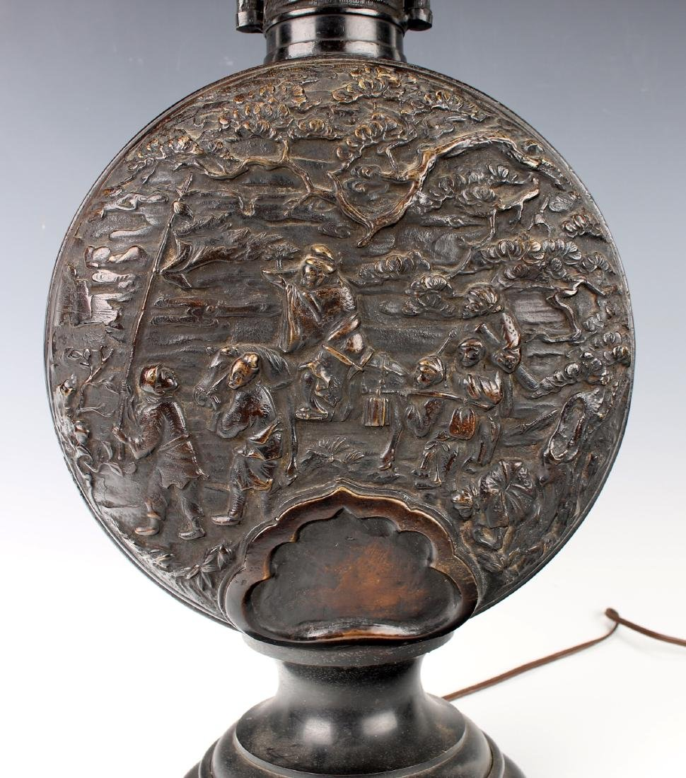 CHINESE BRONZE REPOUSSE LAMP - 3