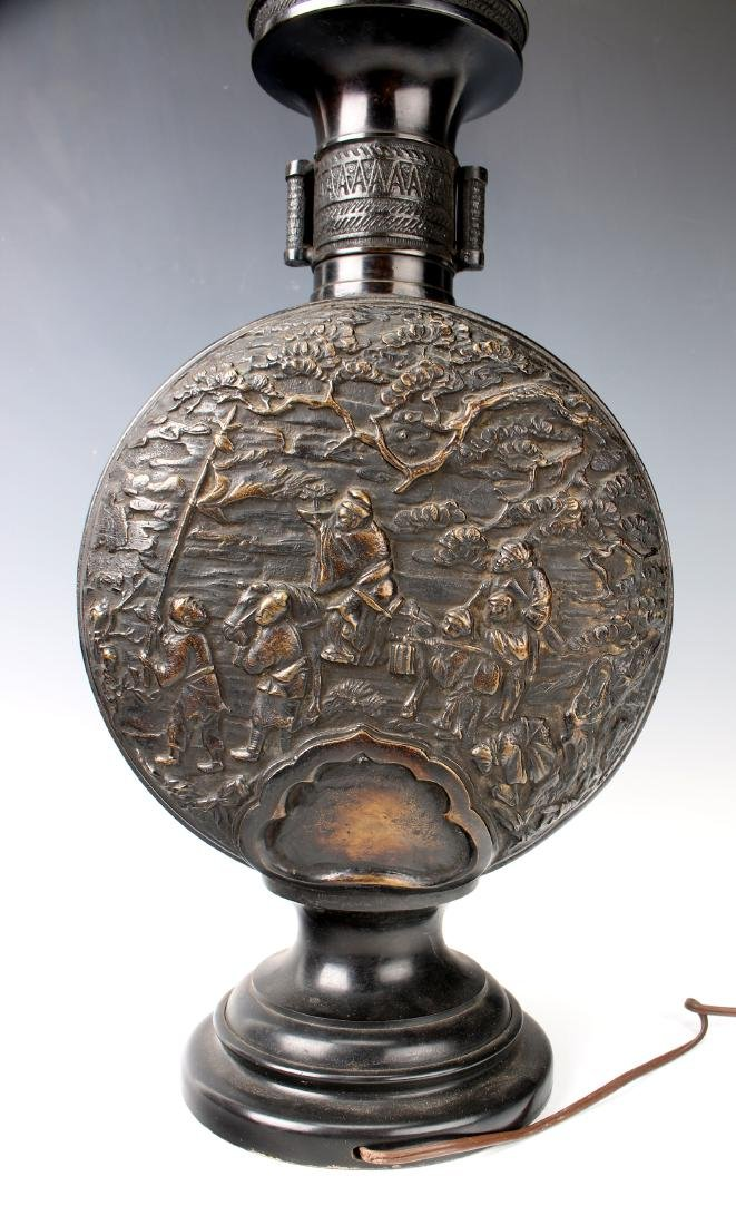CHINESE BRONZE REPOUSSE LAMP - 7