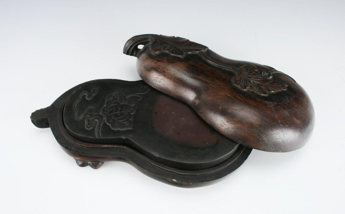 GOURD SHAPED INKSTONE WITH WOODEN CASE