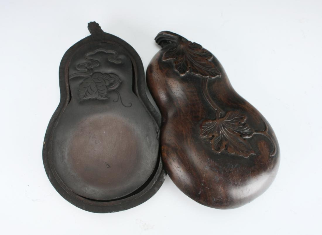 GOURD SHAPED INKSTONE WITH WOODEN CASE - 5