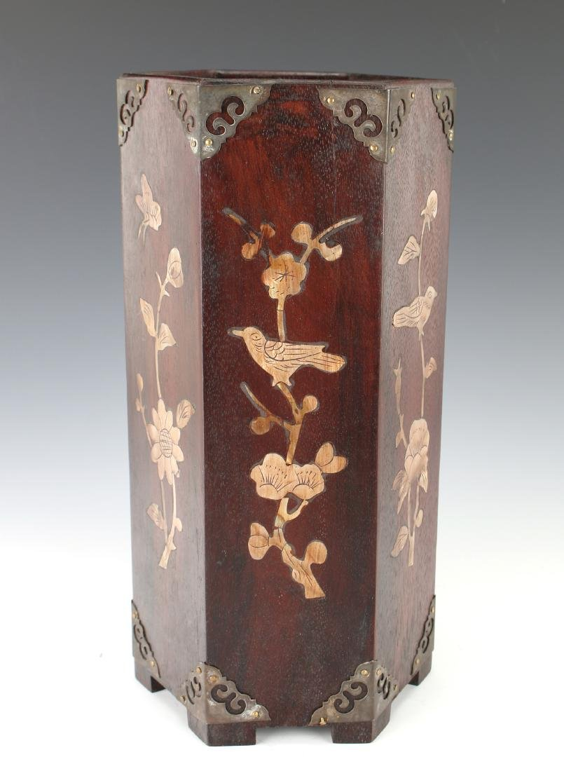 WOODEN BRUSH POT WITH MOTHER OF PEARL INLAY