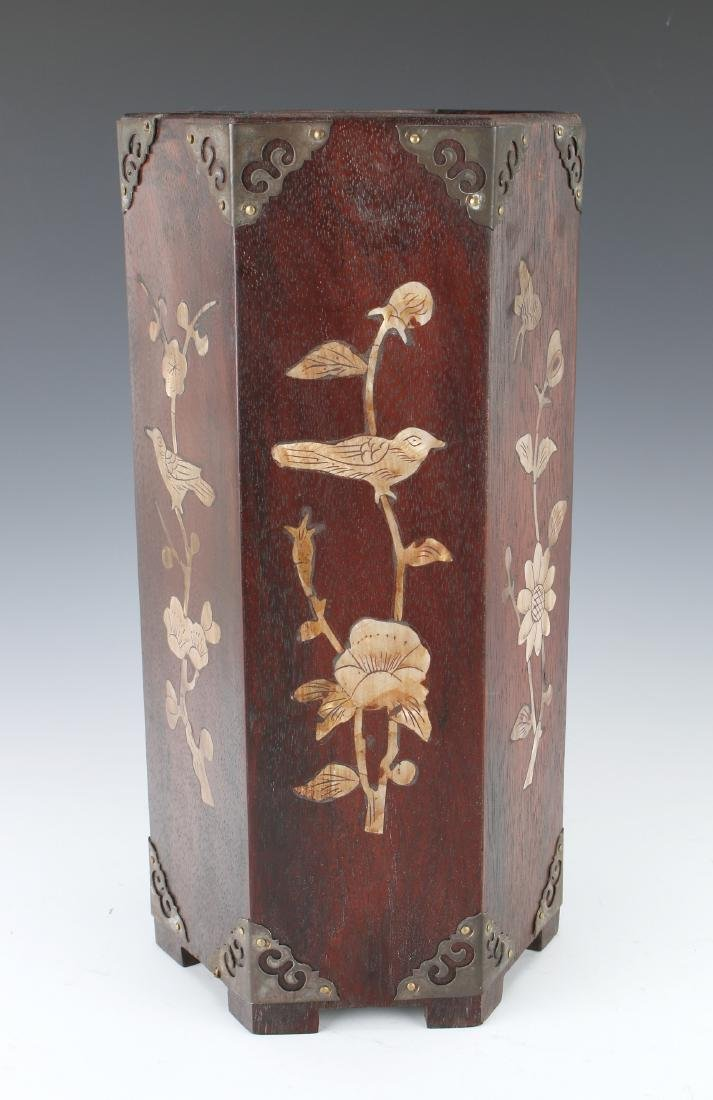 WOODEN BRUSH POT WITH MOTHER OF PEARL INLAY - 3
