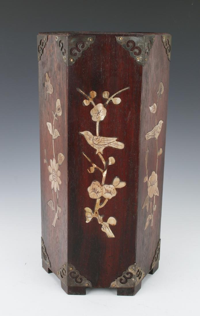 WOODEN BRUSH POT WITH MOTHER OF PEARL INLAY - 4