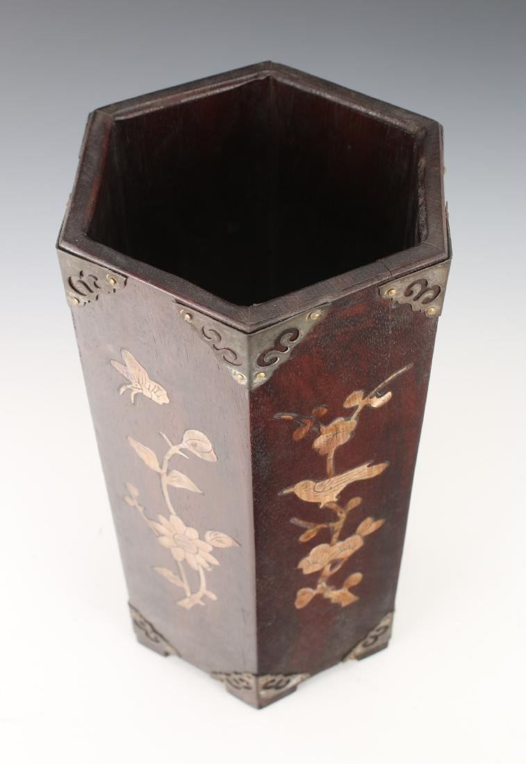 WOODEN BRUSH POT WITH MOTHER OF PEARL INLAY - 6