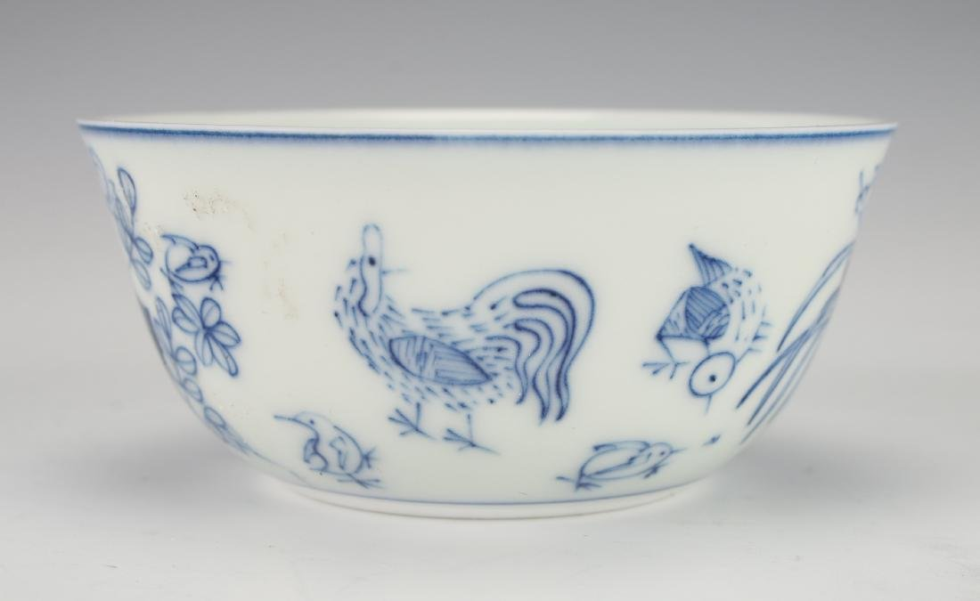ANTIQUE BLUE & WHITE ROOSTER TEACUP - 2
