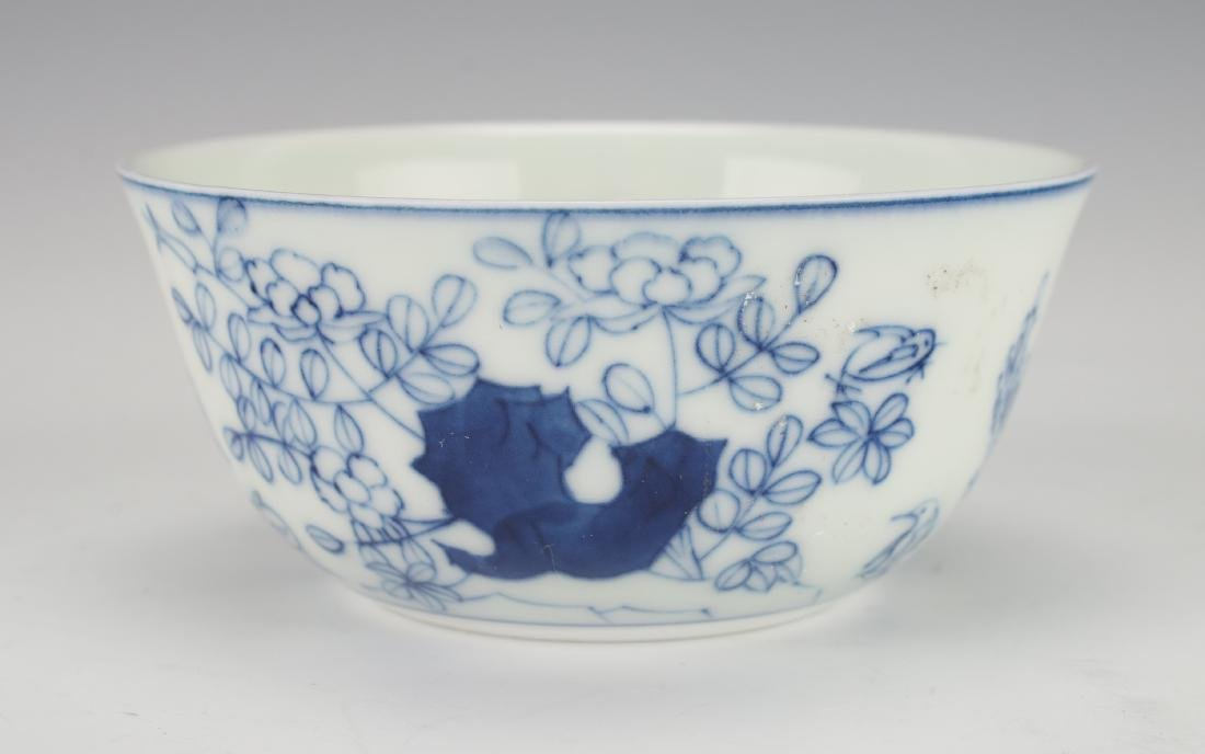 ANTIQUE BLUE & WHITE ROOSTER TEACUP - 3