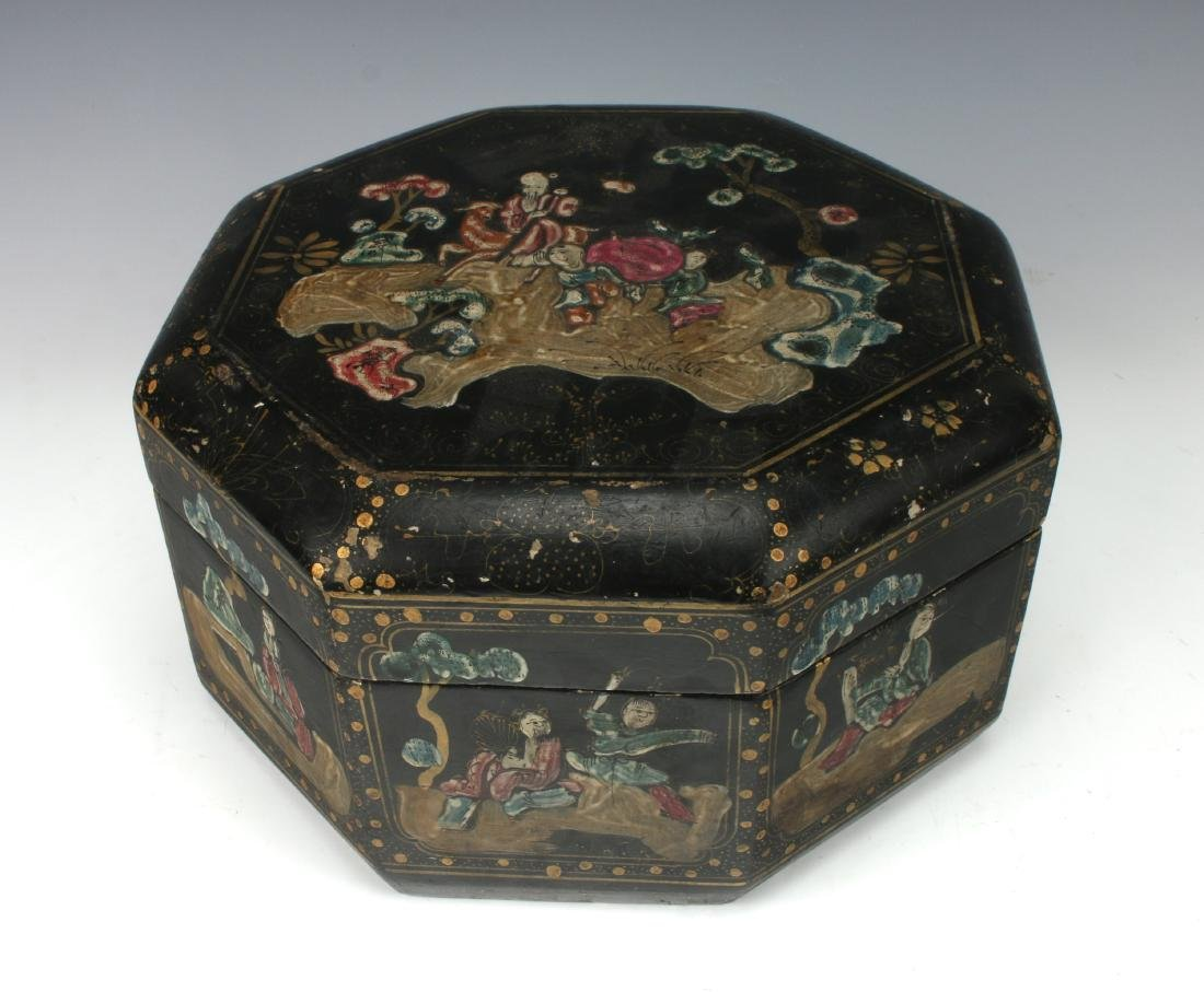 OCTAGONAL LACQUERED BOWL WITH IMMORTALS