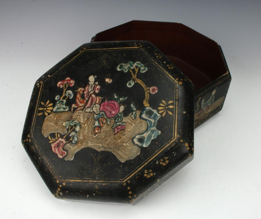 OCTAGONAL LACQUERED BOWL WITH IMMORTALS - 2
