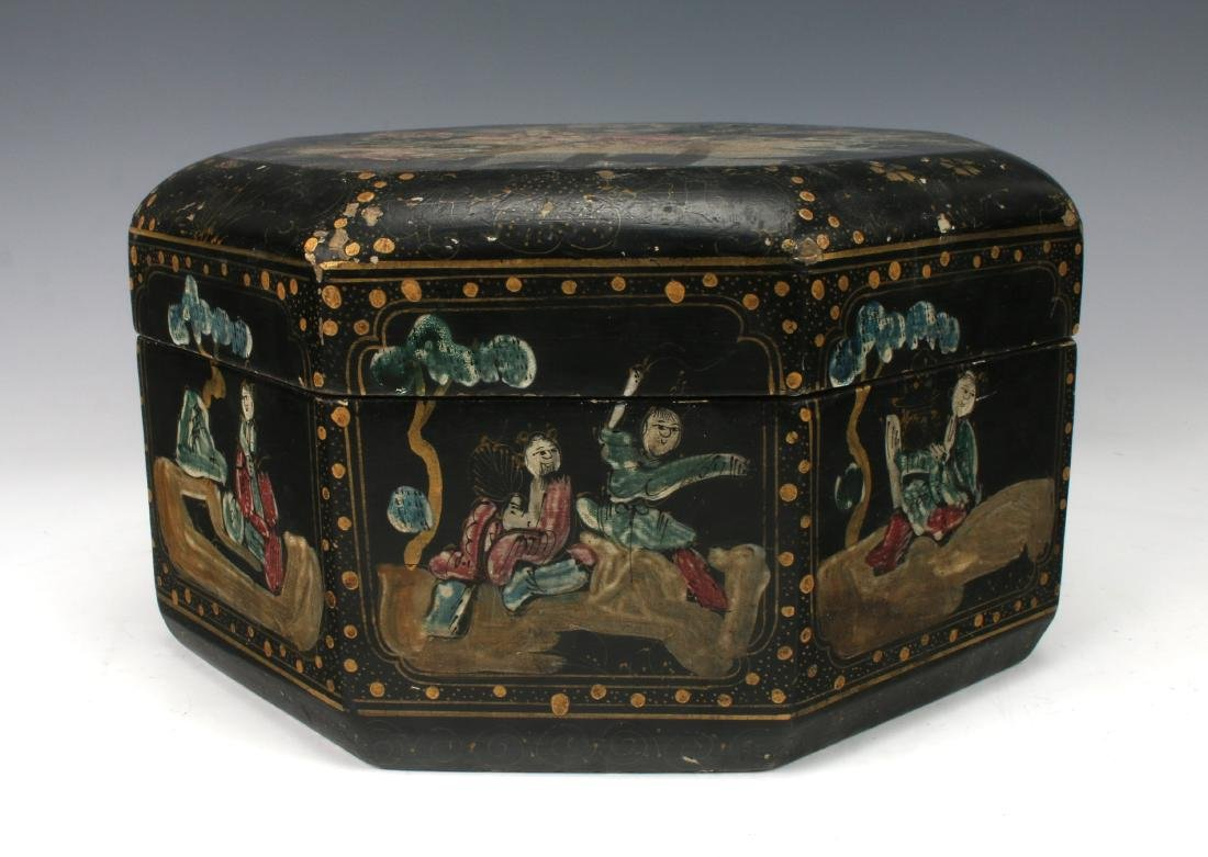 OCTAGONAL LACQUERED BOWL WITH IMMORTALS - 3