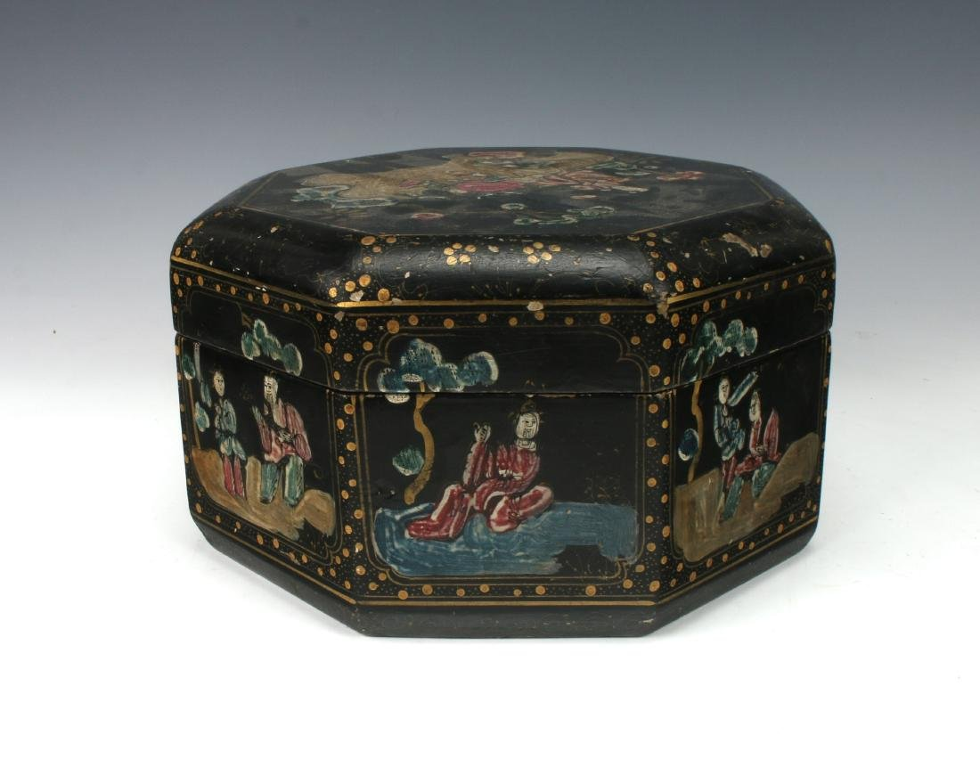 OCTAGONAL LACQUERED BOWL WITH IMMORTALS - 5