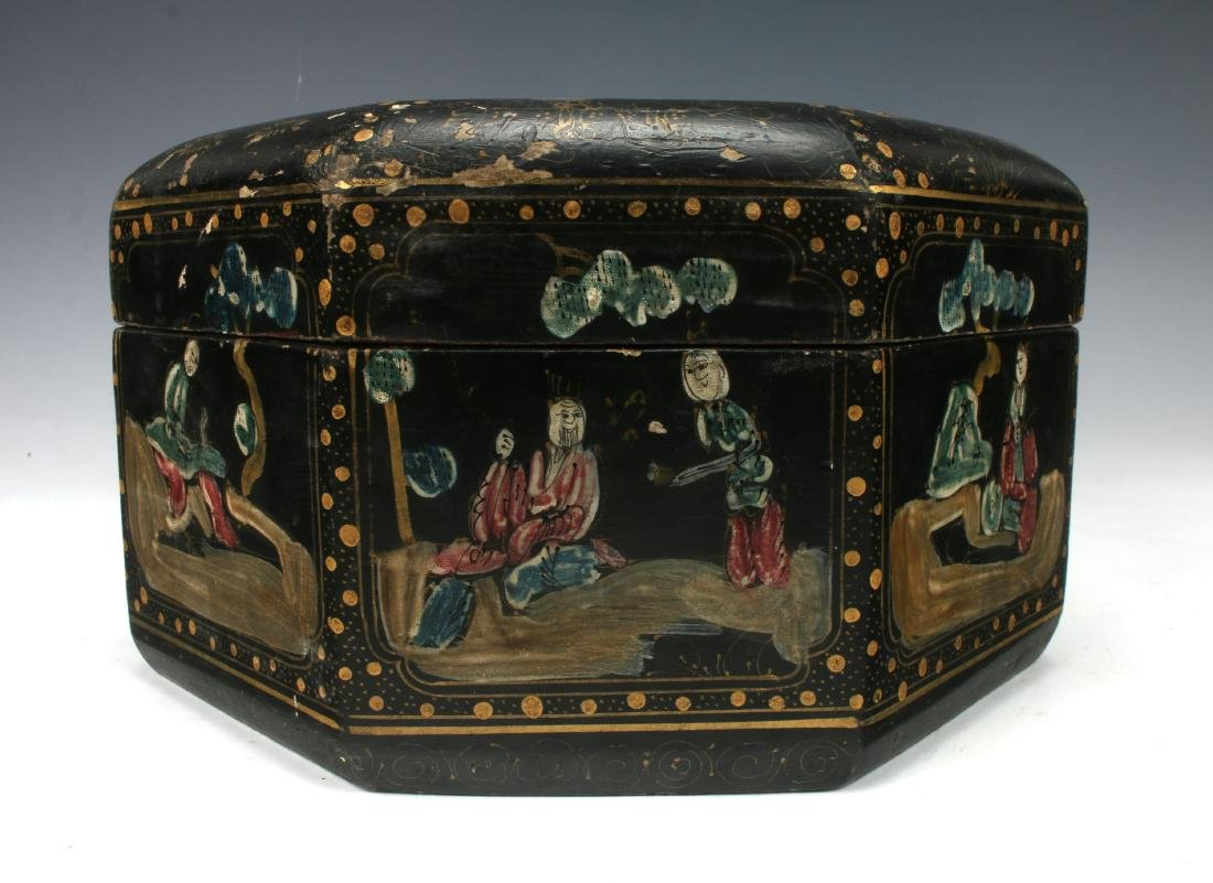 OCTAGONAL LACQUERED BOWL WITH IMMORTALS - 6