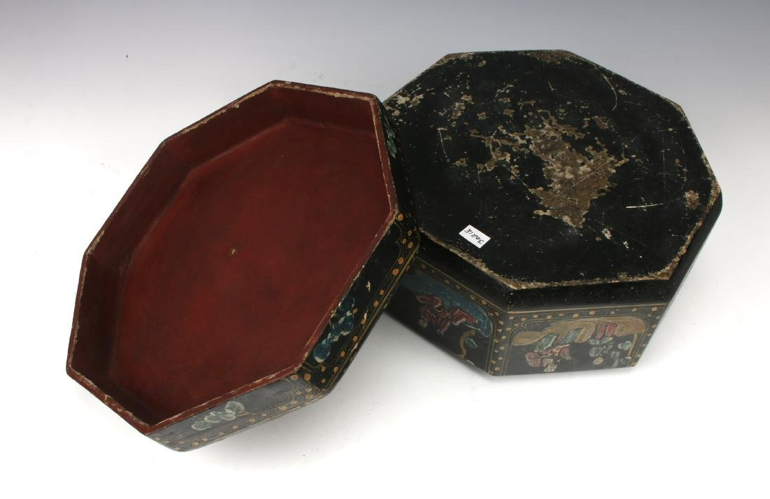 OCTAGONAL LACQUERED BOWL WITH IMMORTALS - 7