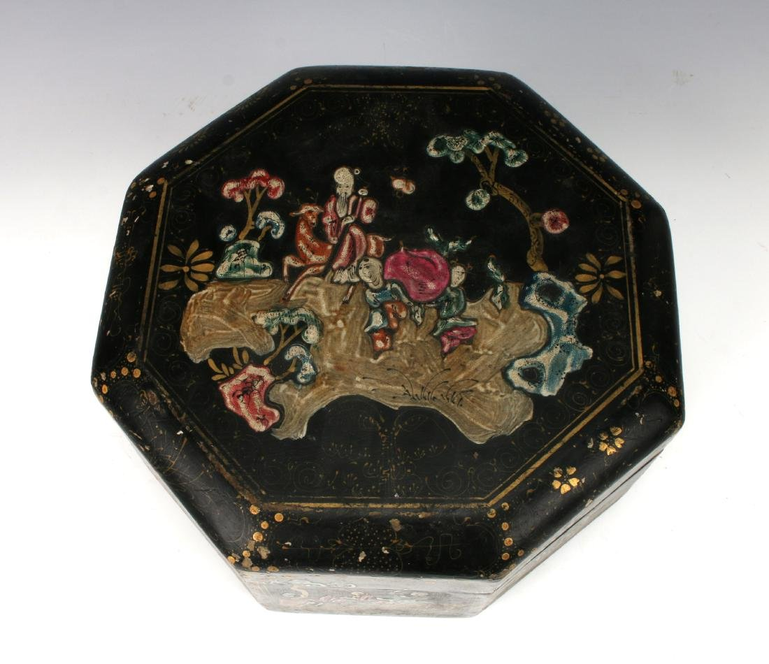 OCTAGONAL LACQUERED BOWL WITH IMMORTALS - 8
