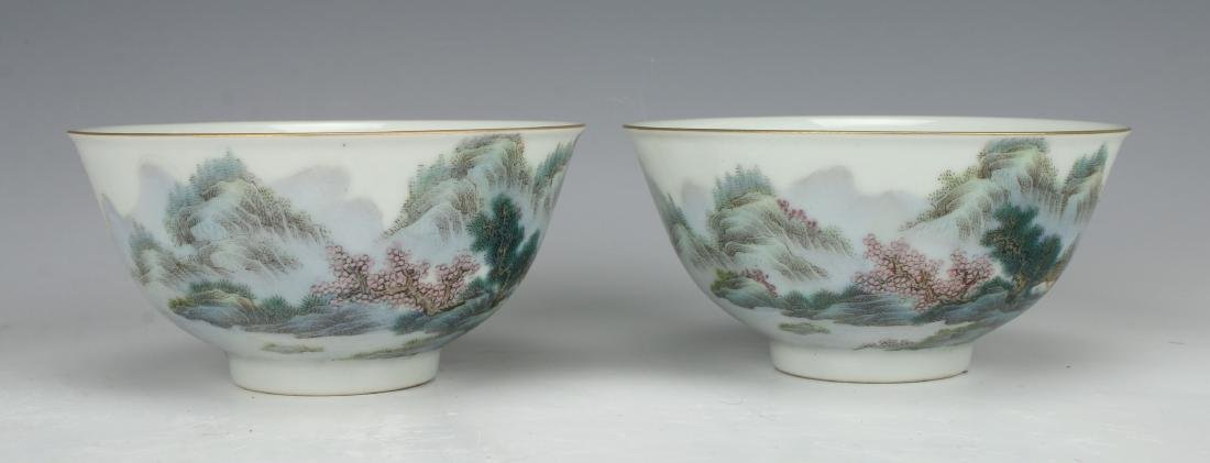 PAIR OF BOWLS WITH VILLAGE SCENE - 2