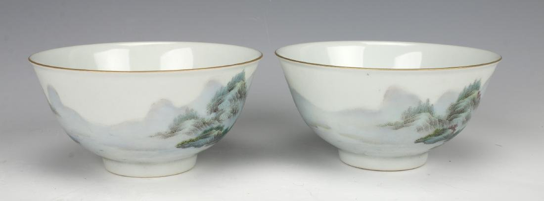 PAIR OF BOWLS WITH VILLAGE SCENE - 3