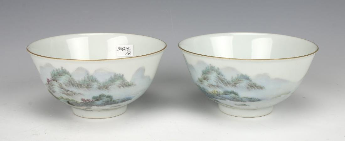 PAIR OF BOWLS WITH VILLAGE SCENE - 4