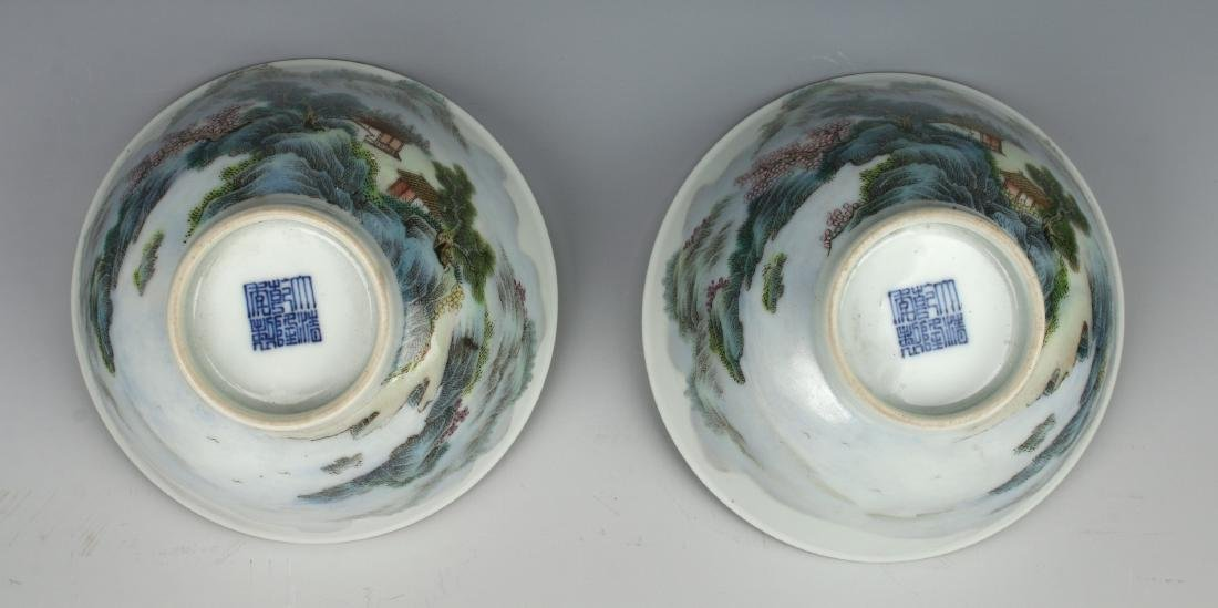 PAIR OF BOWLS WITH VILLAGE SCENE - 5