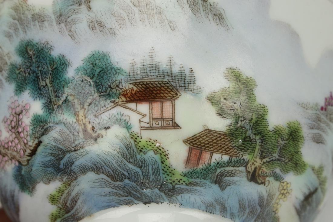 PAIR OF BOWLS WITH VILLAGE SCENE - 6