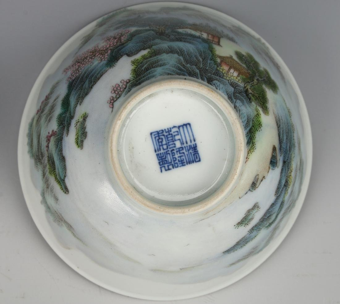 PAIR OF BOWLS WITH VILLAGE SCENE - 8