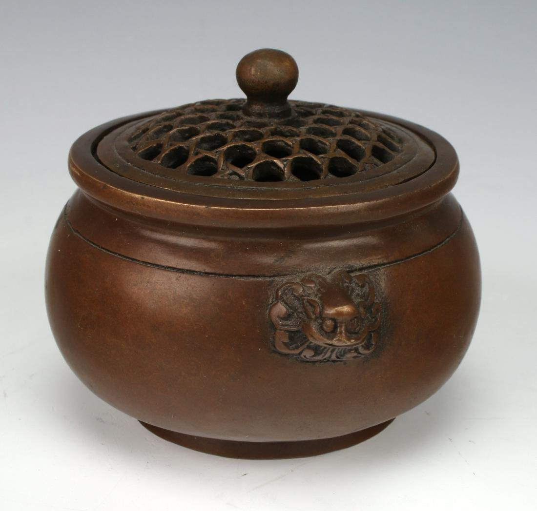 BRONZE CENSER WITH LID - 2