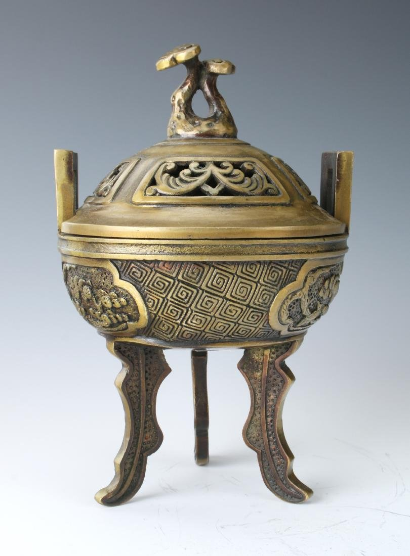 CHINESE METAL CENSER WITH LID - 3